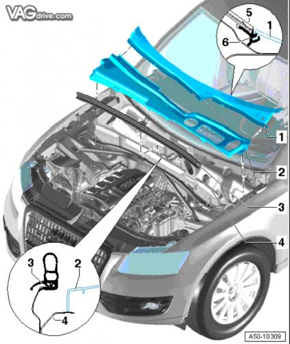 Очистка водоотводящего короба Audi q5 2010 года | Сообщество